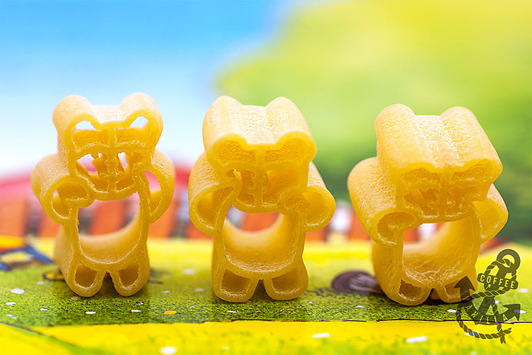 pasta in a bear shape animal shape pasta