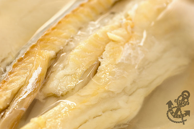 Jamaican cod saltfish soaked in water