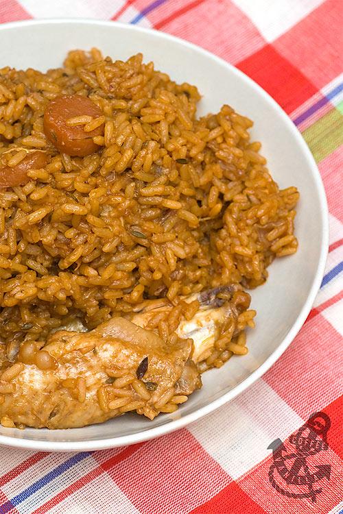 Caribbean comfort food chicken pelau recipe from island of Dominica