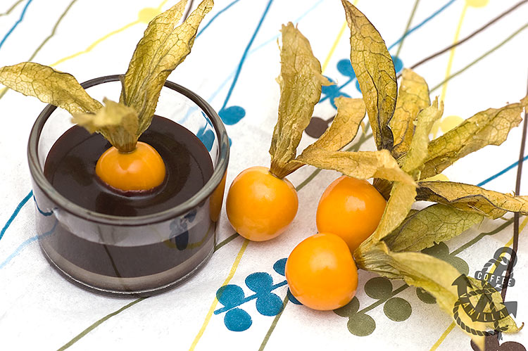 Valentine's Day snack physalis berries and chocolate