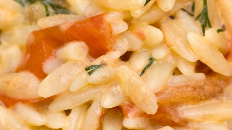 Orzo with Grilled Tomatoes, Dill and Cream Cheese