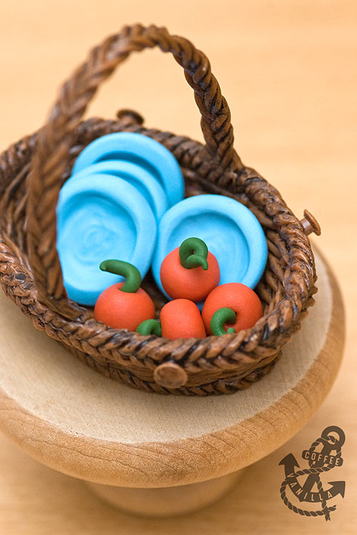 dolls house fruits in a basket 1:12 scale handmade from polymer clay