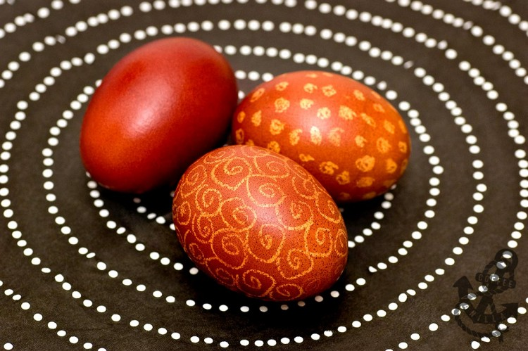wax and onion shell dyed eggs