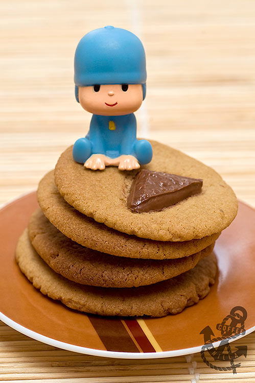 Pocoyo seating on the top of cookie stack