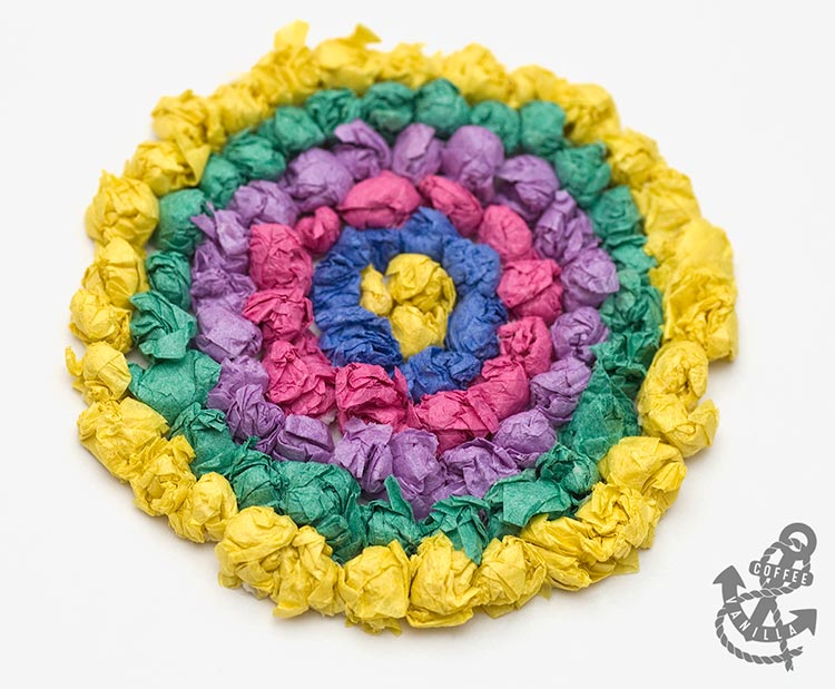 colourful tissue paper circle pattern greeting card