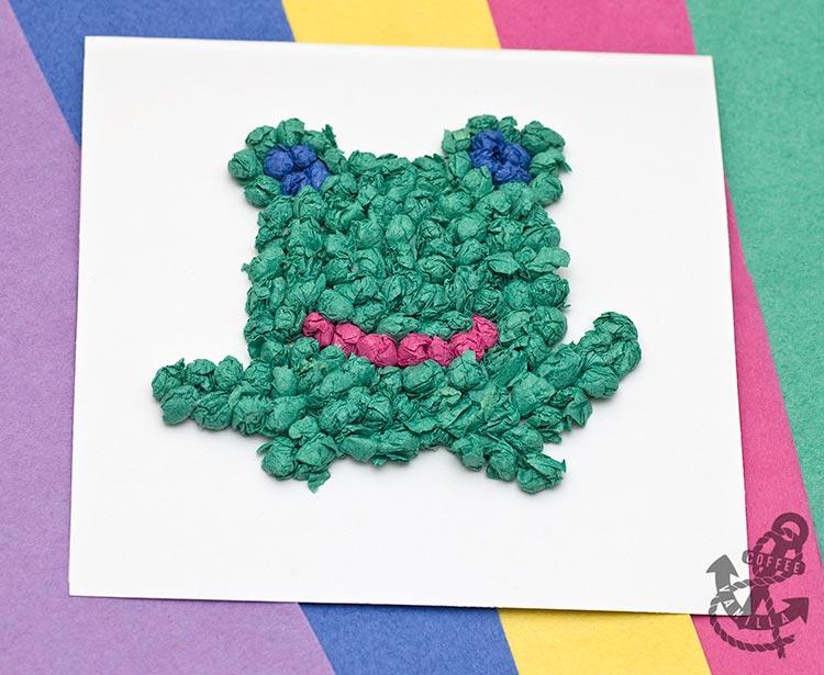 tissue paper frog card kids crafts