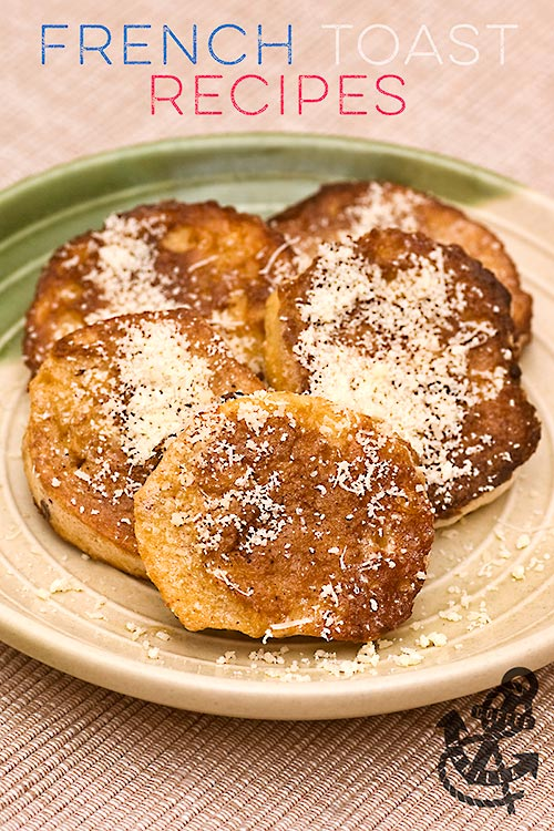 spicy version of traditional French toast recipe or spiced with cinnamon and nutmeg
