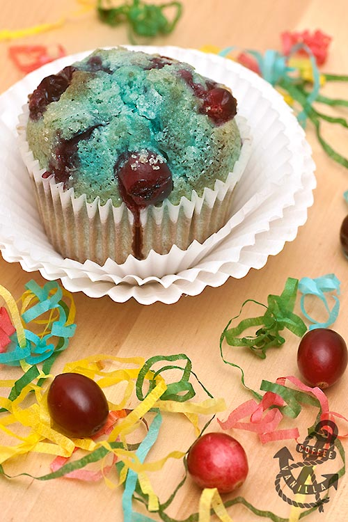 blue muffins with smurfberries