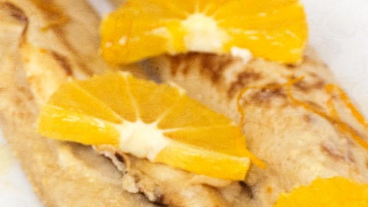 Baked Cream Cheese Pancakes in Orange Sauce