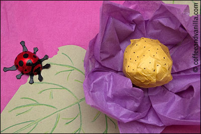 gift chocolate lady birds tissue flower leaves