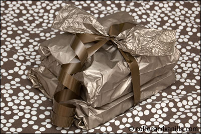 monochrome golden tissue paper gift wrapping