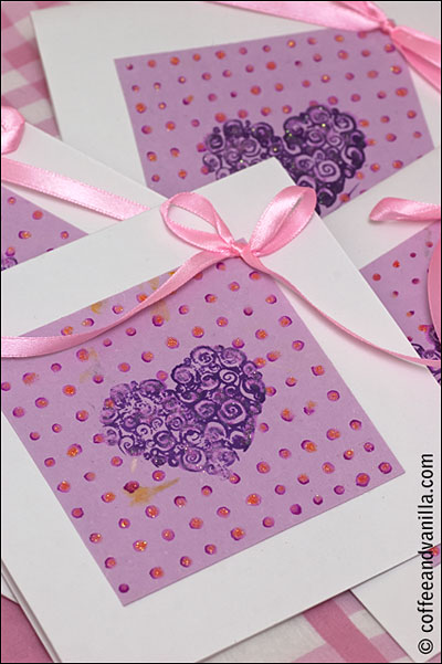 Mulberry paper heart stamp DIY invitations