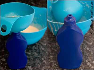 squeezable bottle to make pancake shapes