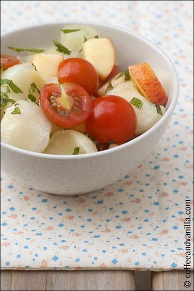 fruit salad with mint and lemon dressing