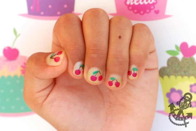 cherries cherry nail art for children