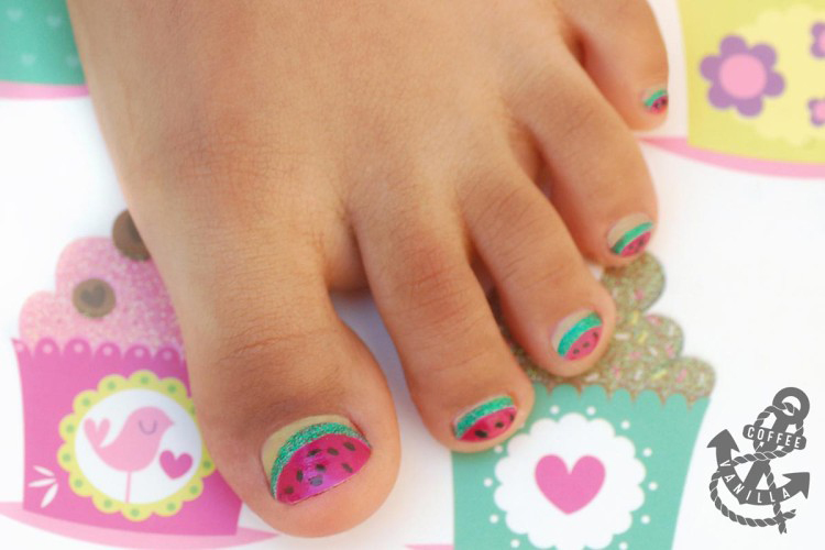 nail art for children watermelon toes