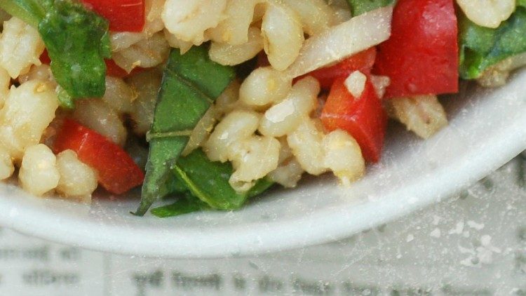 Pearl Barley Spinach Salad with Garlic and Chilli Flakes