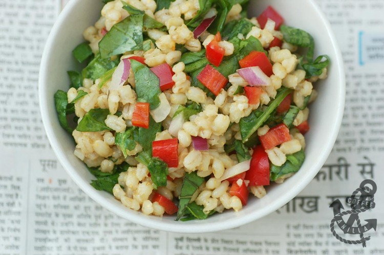 low calorie pear barley salad