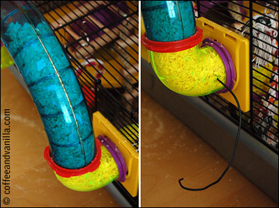 how to unblock hamster cage tubes
