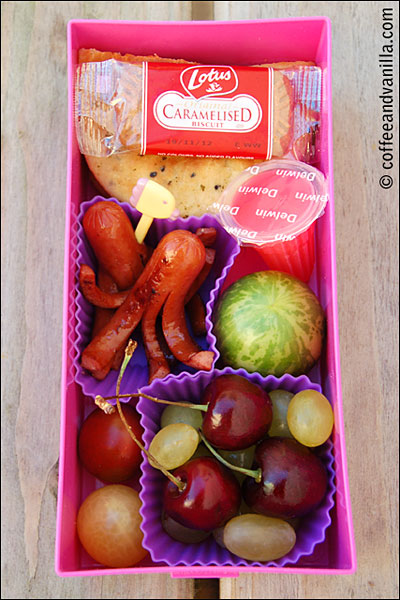 heirloom tomatoes watermelon tomatoes Lego lunch box sausage octopuses