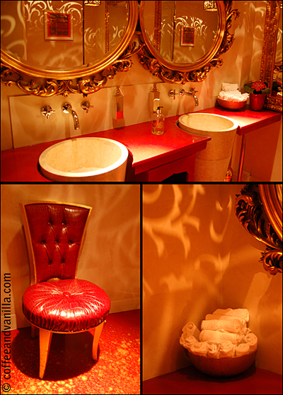 red and golden bathroom red gold interior
