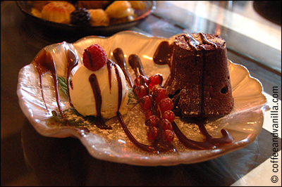 chocolate lava cake vanilla ice cream red currants