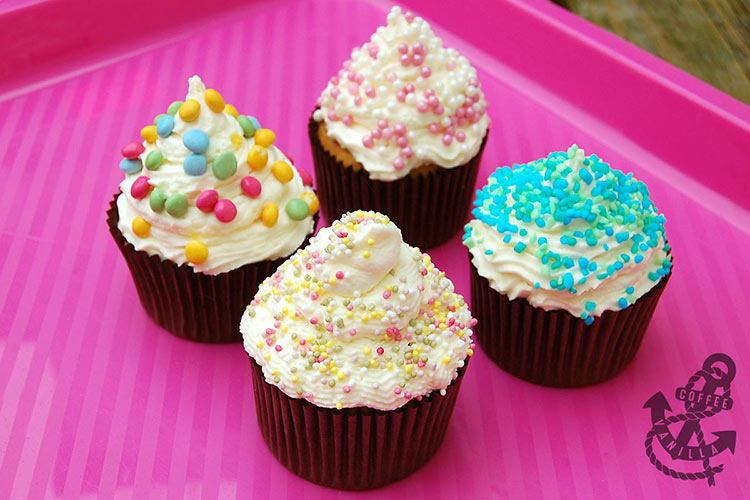 chocolate and vanilla cupcakes with whipped cream