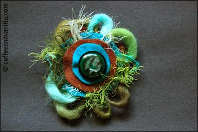 brooch in sea colors green blue brown