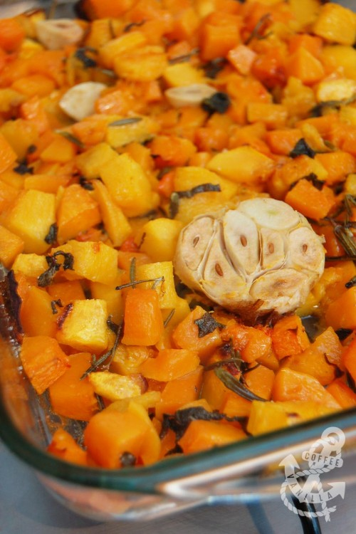 roasted mixed winter squash with rosemary sage and garlic