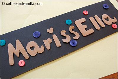 Handmade girl's room name sign