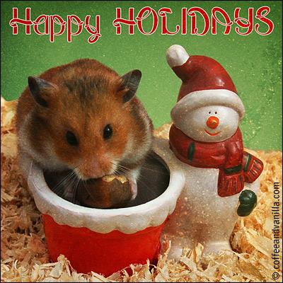 hamster Santa snowman