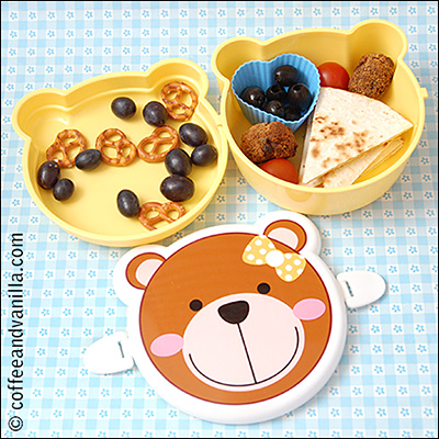 two tier lunch box teddy bear with a bow