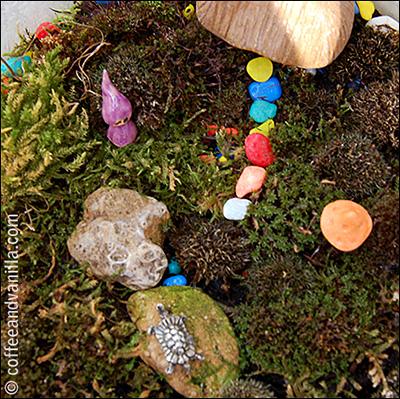 miniature terrarium garden with a gnome
