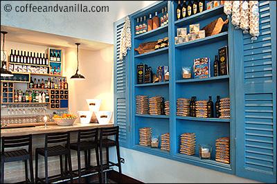blue Greek door at The Real Greek restaurant