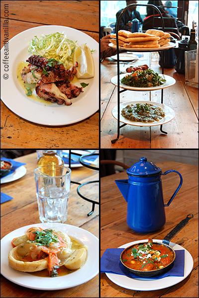 blue enamel jug at Greek restaurant