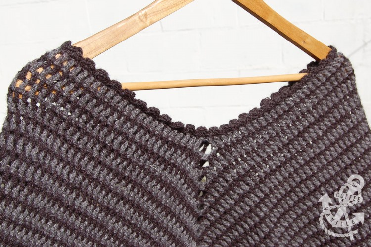 black and gray crochet poncho