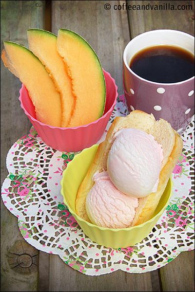 gelato ice cream and brioche roll Sicily style breakfast