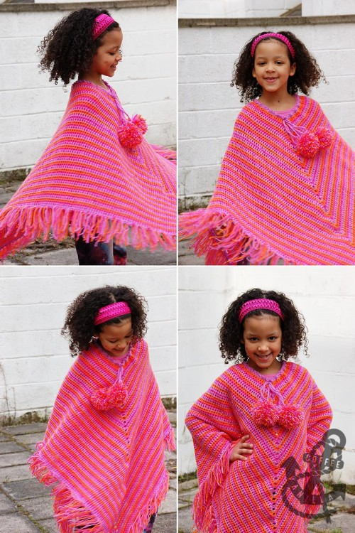 free pattern for classic crochet girl's poncho with pom-poms