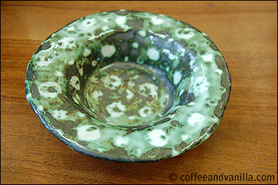 green and white pottery