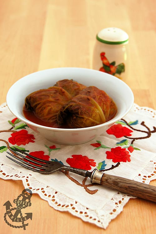 gołąbki - traditional Polish dish of minced meat and cabbage rolls served in tomato sauce