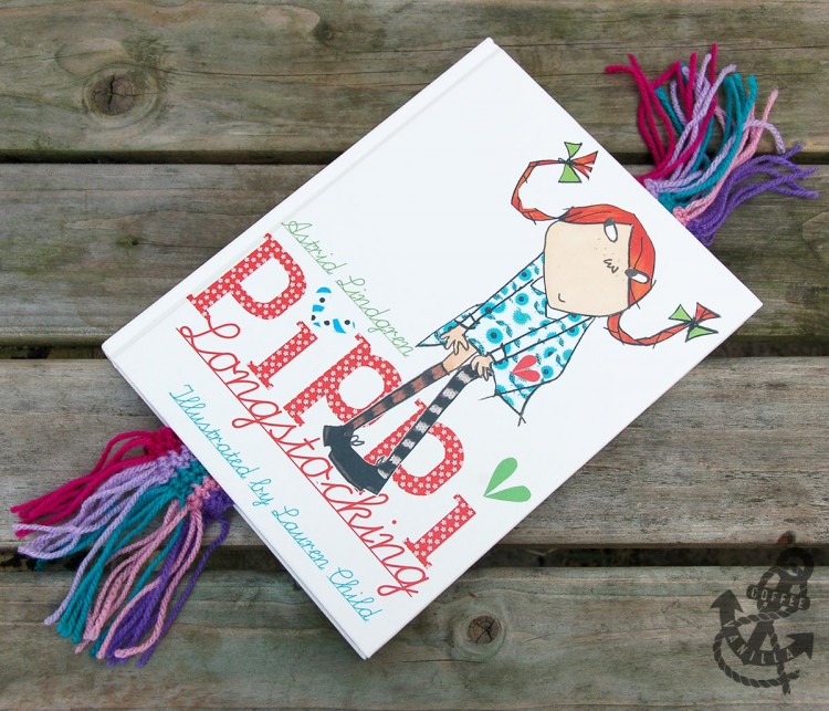 crochet bookmark project and Pippi Longstocking book by Astrid Lindgren