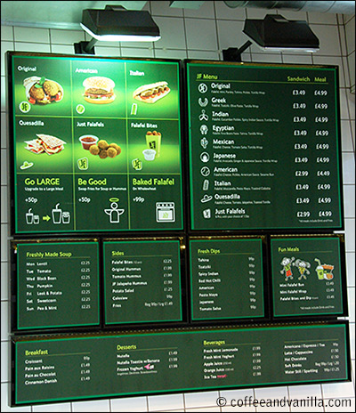 fast food menu board