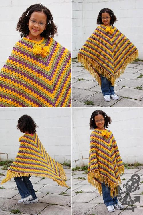 crochet poncho tutorial junior poncho in granny square pattern
