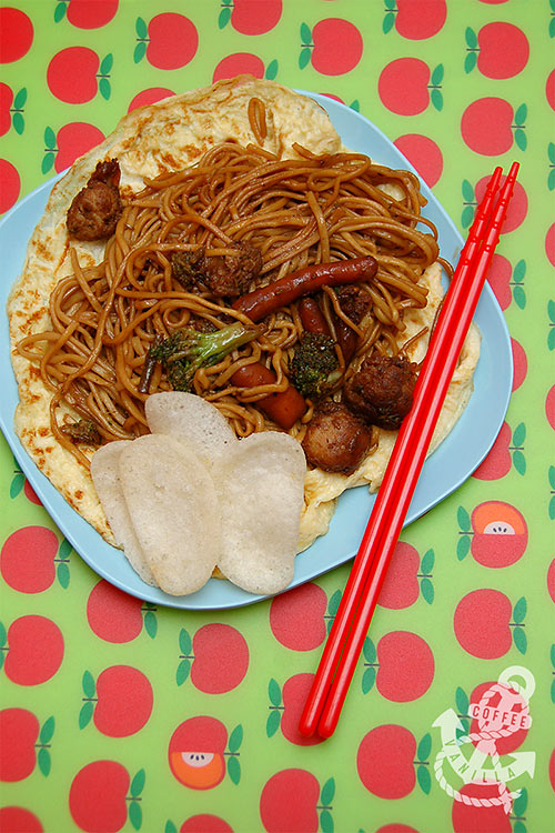 easy children friendly recipe for Chinese 5 spice noodles Chinese take-away at home