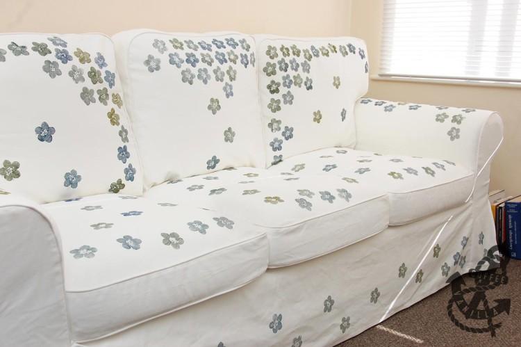 DIY crafts painting Ikea sofa
