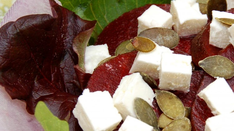 Beetroot Salad with Rocket Leaves, Toasted Pumpkin Seeds and Feta Cheese