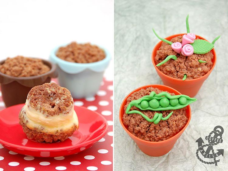 spring Easter cakes roses peapods miniature cheese cakes for kids