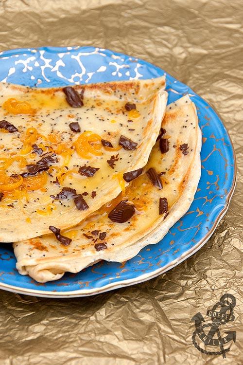 classic pancake dessert orange cognac chocolate flakes