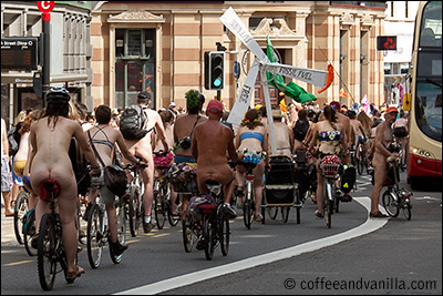 naked bikers protest Brighton car culture