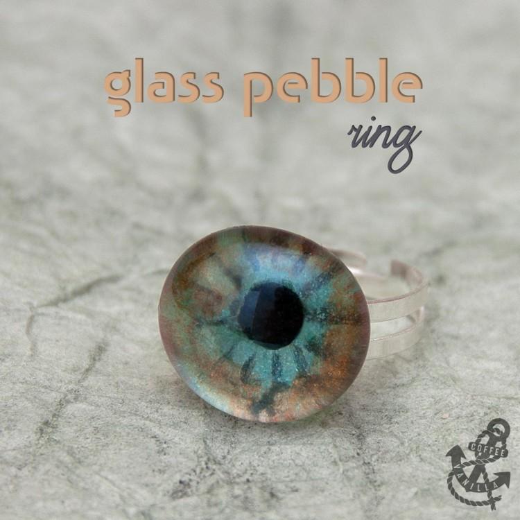 wisdom eye ring pebble ring glass ring eye ring
